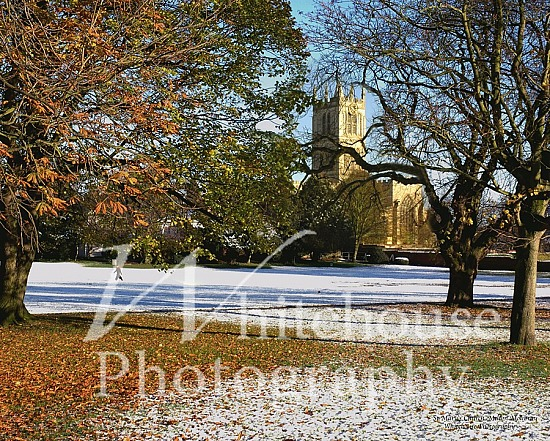 Photo of St Mary's Church, Melton Mowbray, in the snow