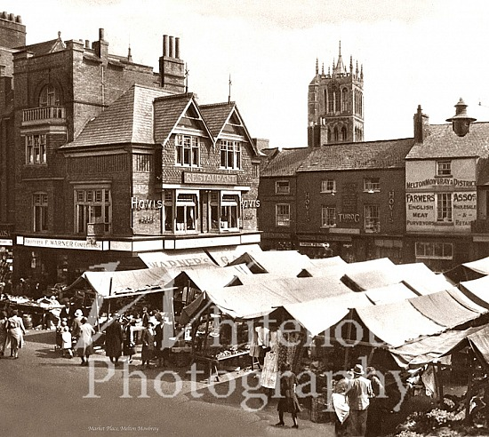 Vintage picture of the market stalls in the market square